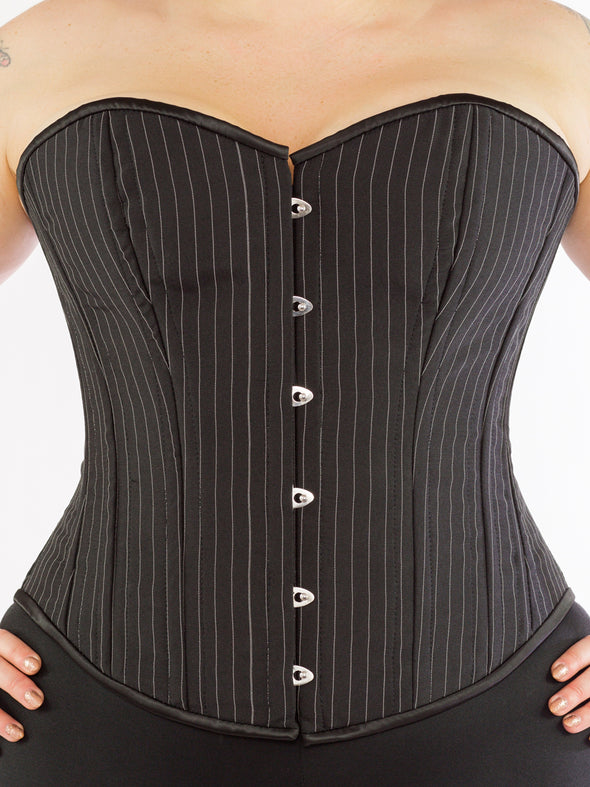 cs-530 plus sized pinstripe overbust corset, front