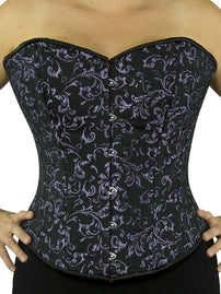 steel boned purple brocade overbust corset