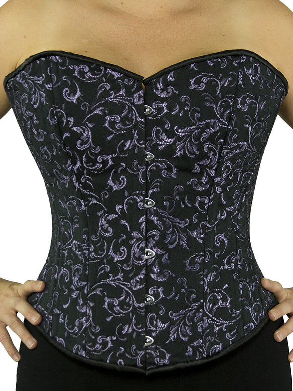 cs 530 plus sized steel boned purple brocade overbust corset