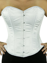white satin plus size bridal corset