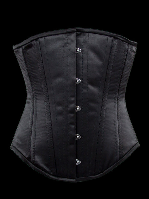 plus size 701 longline steel boned corset black satin front view