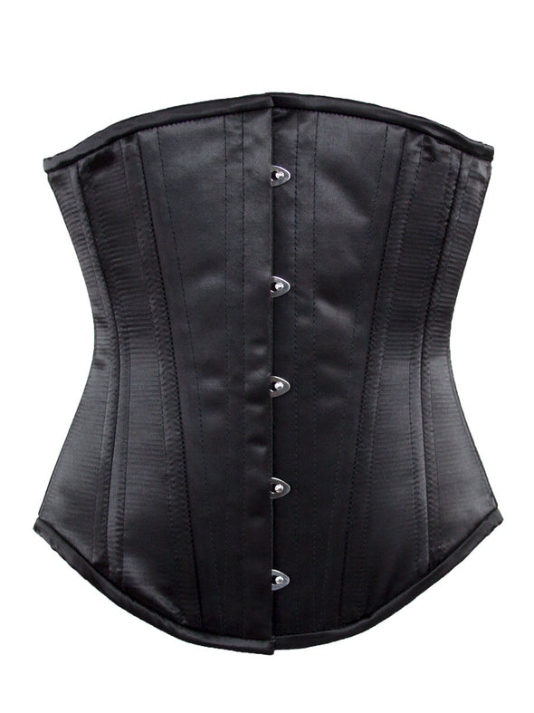 plus size 701 longline steel boned corset black satin back view