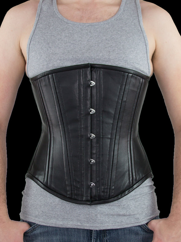 model wearing plus sized 701 longline lamb leather steel boned corset front view