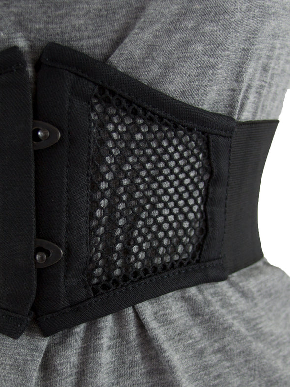close up of 905 short mesh corset belt to show mesh texture