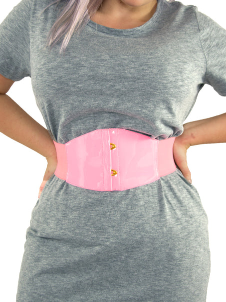 Limited Edition for Breast Cancer Awareness Pink PVC Corset Belt-Short (CB-905Short)