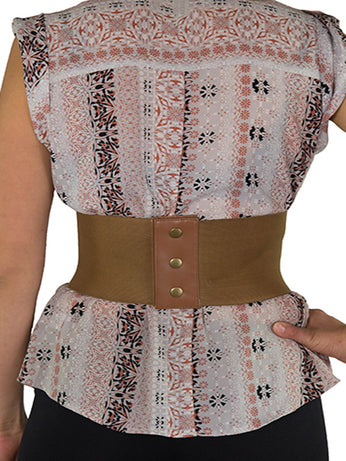 74c4bfa82 ... Discontinued - Faux Leather Laced Pattern Corset Belt (CB-915) - Brown  and