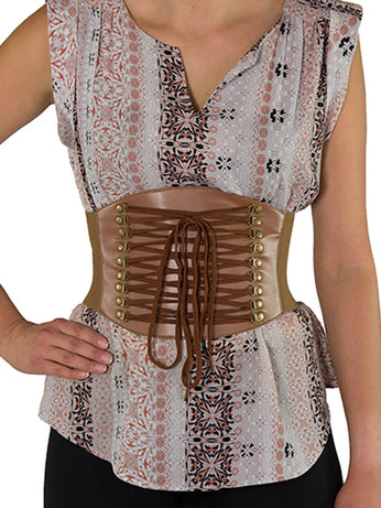 ab636b556f Discontinued - Faux Leather Laced Pattern Corset Belt (CB-915) - Brown and  ...