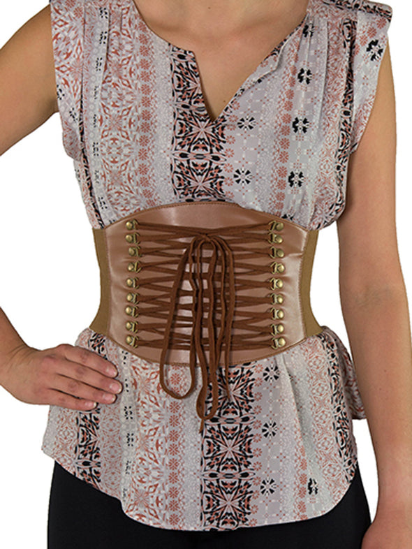 Discontinued - Faux Leather Laced Pattern Corset Belt (CB-915) - Brown and Red