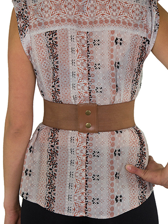 Discontinued - Faux Leather Laced Pattern Corset Belt-Short (CB-915Short) - Brown and Red