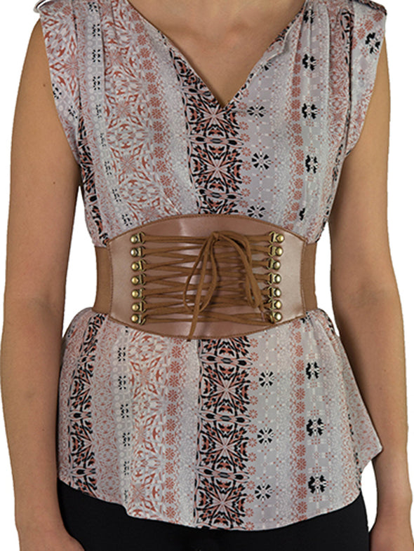 Front view of the brown corset belt 915