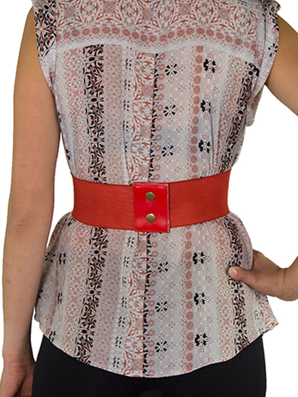Discontinued - Faux Leather Laced Pattern Corset Belt-Short : CB-915Short - Brown and Red
