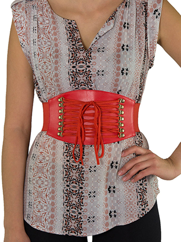 Front view of the the red 915 corset belt