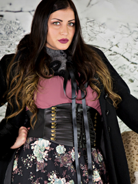 Faux Leather Laced Pattern Corset Belt (CB-915)