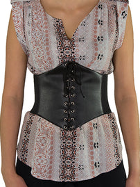 Wide Faux Leather Lacing Corset Belt (CB-920)