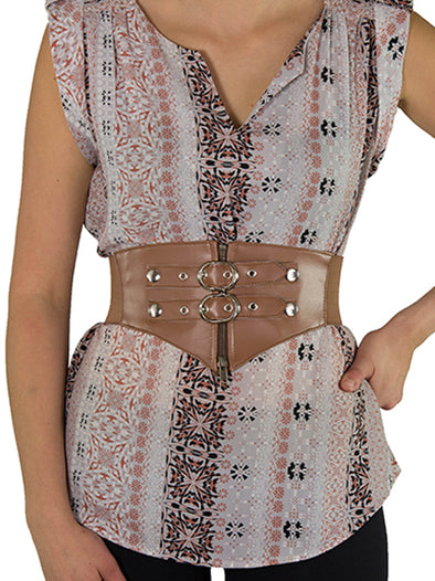 Discontinued - Steampunk Corset Belt w/ Zipper and Mock Buckles-Short (CB-925Short) - Brown