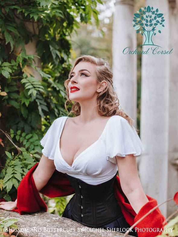 model wearing the cs411 standard black cotton steel boned corset