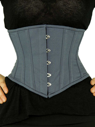 Black Friday Steel Boned Underbust Gray Cotton Corset (CS-201)