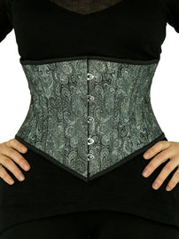 Steel Boned Underbust Silver & Black Brocade Corset (CS-201)