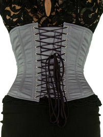 Black Friday Steel Boned Underbust Gray Cotton Corset (CS-345)