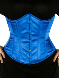 Black Friday Steel Boned Underbust Blue Satin Corset (CS-345)-Plus Size
