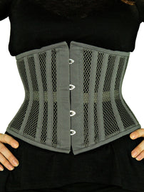 Steel-Boned Underbust Gray Mesh Corset (CS-411)