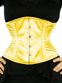 Plus-Size Steel-Boned Underbust Light Gold Satin Corset (CS-411)