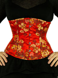 Steel-Boned Underbust Red Satin Brocade Corset (CS-411)