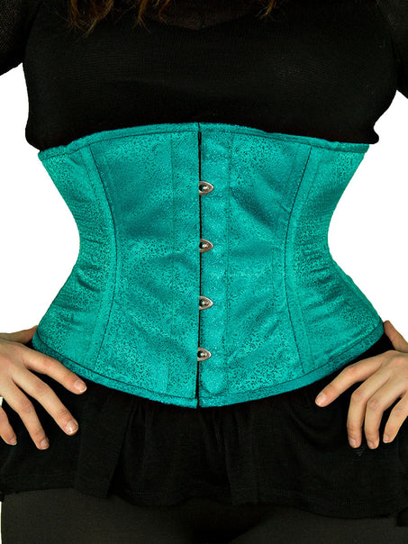 Steel-Boned Underbust Teal Satin Brocade Corset (CS-411)
