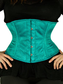 Steel-Boned Underbust Teal Satin Brocade Corset-Plus Size (CS-411)