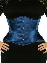 Plus Size Steel-Boned Short Navy Satin Corset (CS-426 Short)