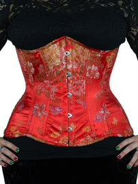 Longline Underbust Red Brocade Satin Corset (CS-426)