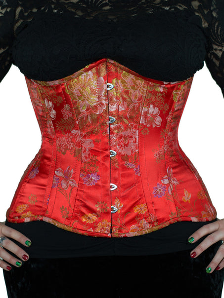 Steel-Boned Longline Underbust Red Brocade Satin Corset (CS-426)