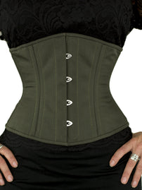 Steel-Boned Underbust Limited Edition Olive Green Corset (CS-411)