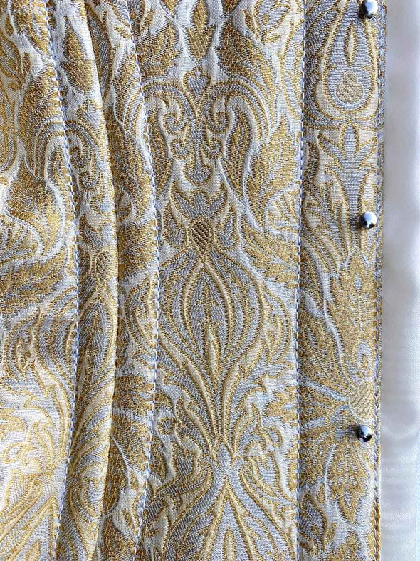 fabric swatch of limited edition gold and silver metallic brocade fabric