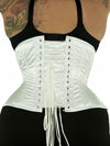 Model wearing our plus size 426 with hip ties steel boned waist training corset in white satin from the rear