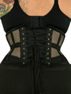 plus size 201 black mesh steel boned waist training corset back view