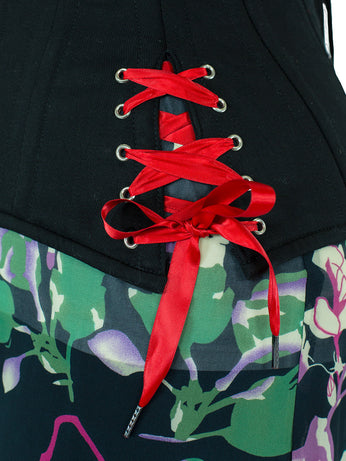 Short red corset laces for CS-426 with hip ties.