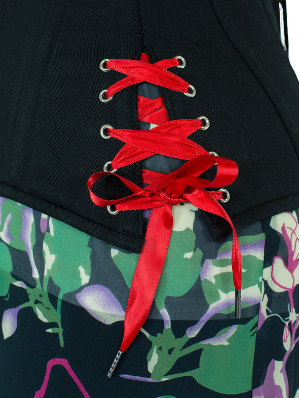 Red satin hip tie replacement laces for CS-426 corset with hip ties