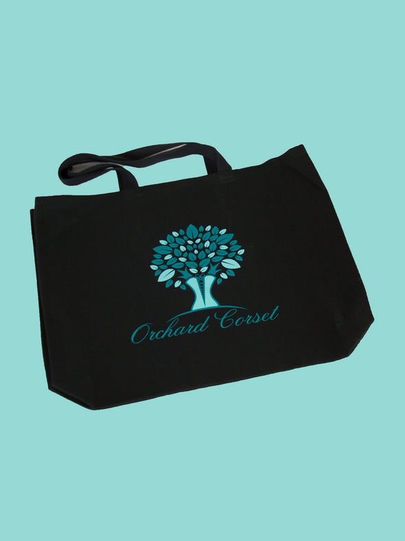 black orchard corset logo tote bag