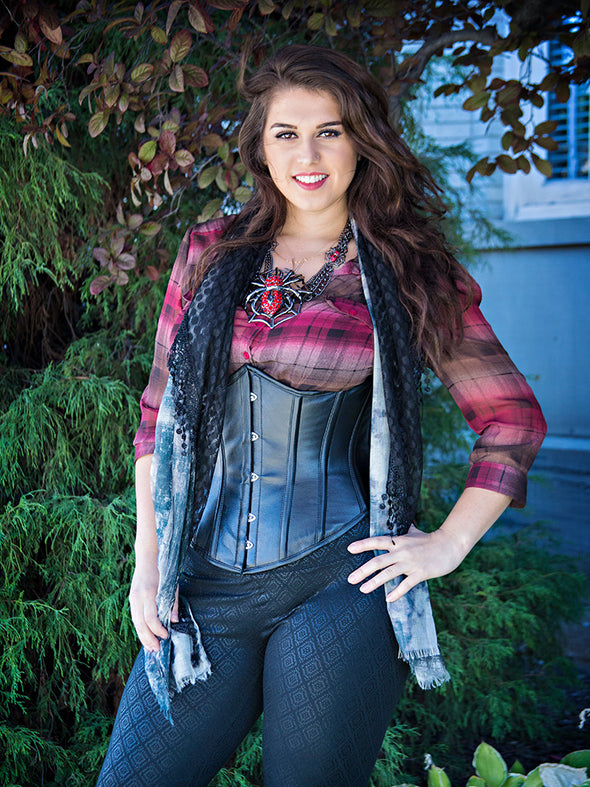 model wearing the plus sized 345 lamb leather steel boned corset