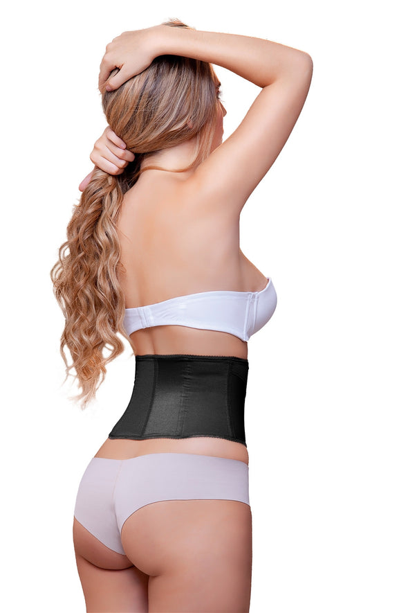 vedette 902 latex free black waspie waist cincher back view