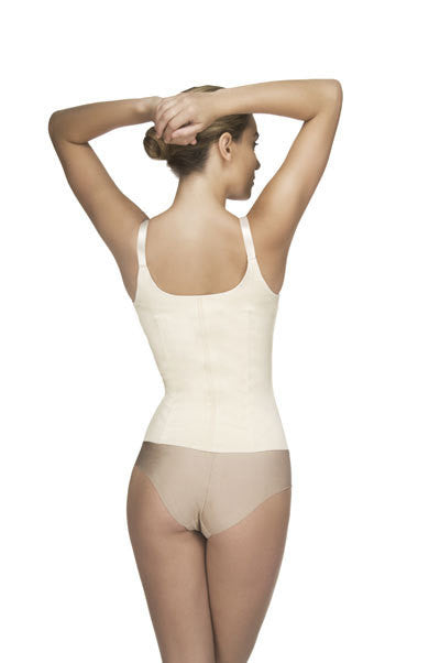 Vedette 400 Latex Underbust Strapped Shaping Corset with  Zipper panels beige rear view