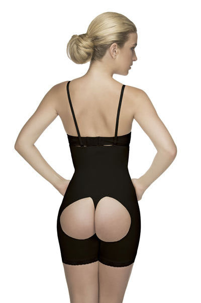 Vedette 504 Latex Mid-Thigh Open Butt Underbust Body Briefer Black rear