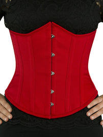 Plus Size Steel Boned Underbust Red Cotton Corset (CS-345)
