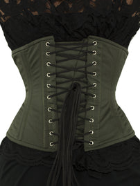 Steel-Boned Plus Size Limited Edition Olive Green Corset (CS-411)