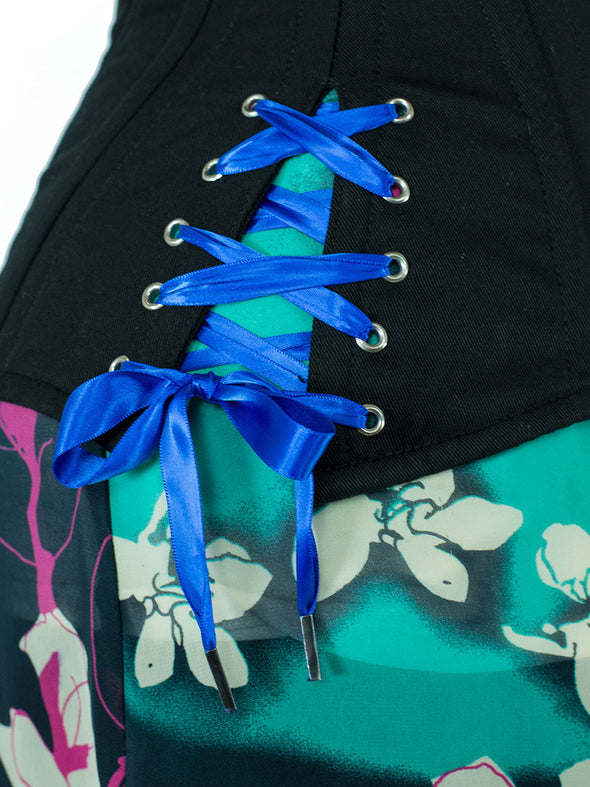 Royal blue satin hip tie replacement laces for CS-426 corset with hip ties