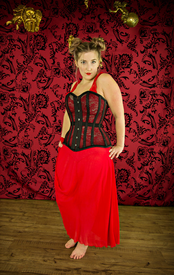 model wearing black cs511 overbust mesh corset