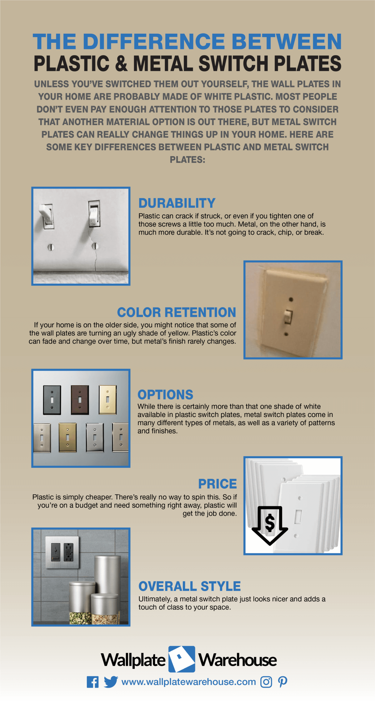 The Differences between Plastic and Metal Switch Plates