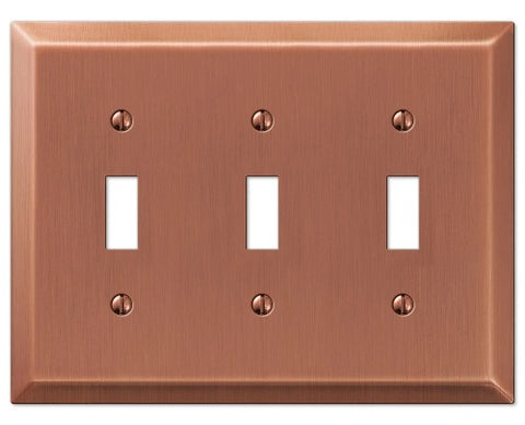 Century Brushed Copper Steel - 3 Toggle Wallplate