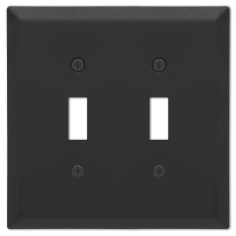 Matte Black 2-Toggle Light Switch Cover